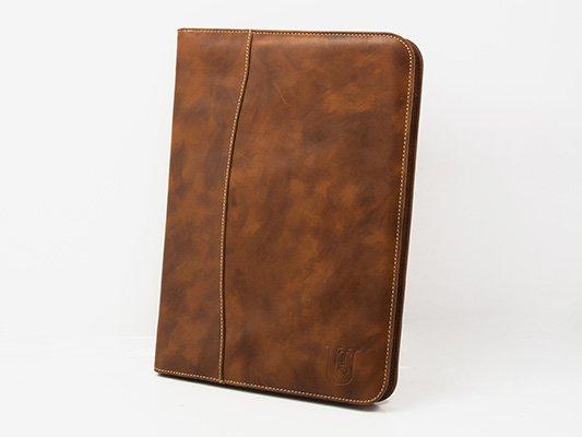Portafolio A4 en piel con cierre de cremallera