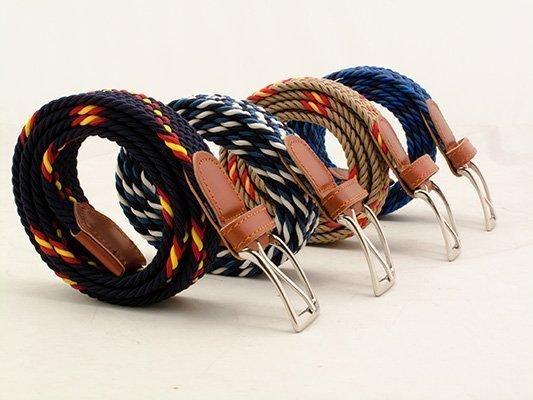 Cinturón de trenza elástica y piel