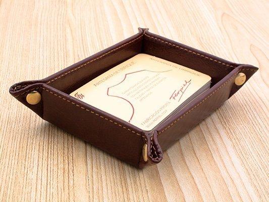 Tarjetero de mesa rectangular en semipiel
