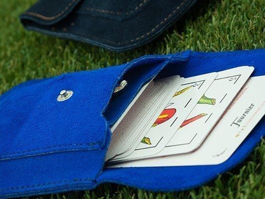 Estuche para cartas en piel serraje
